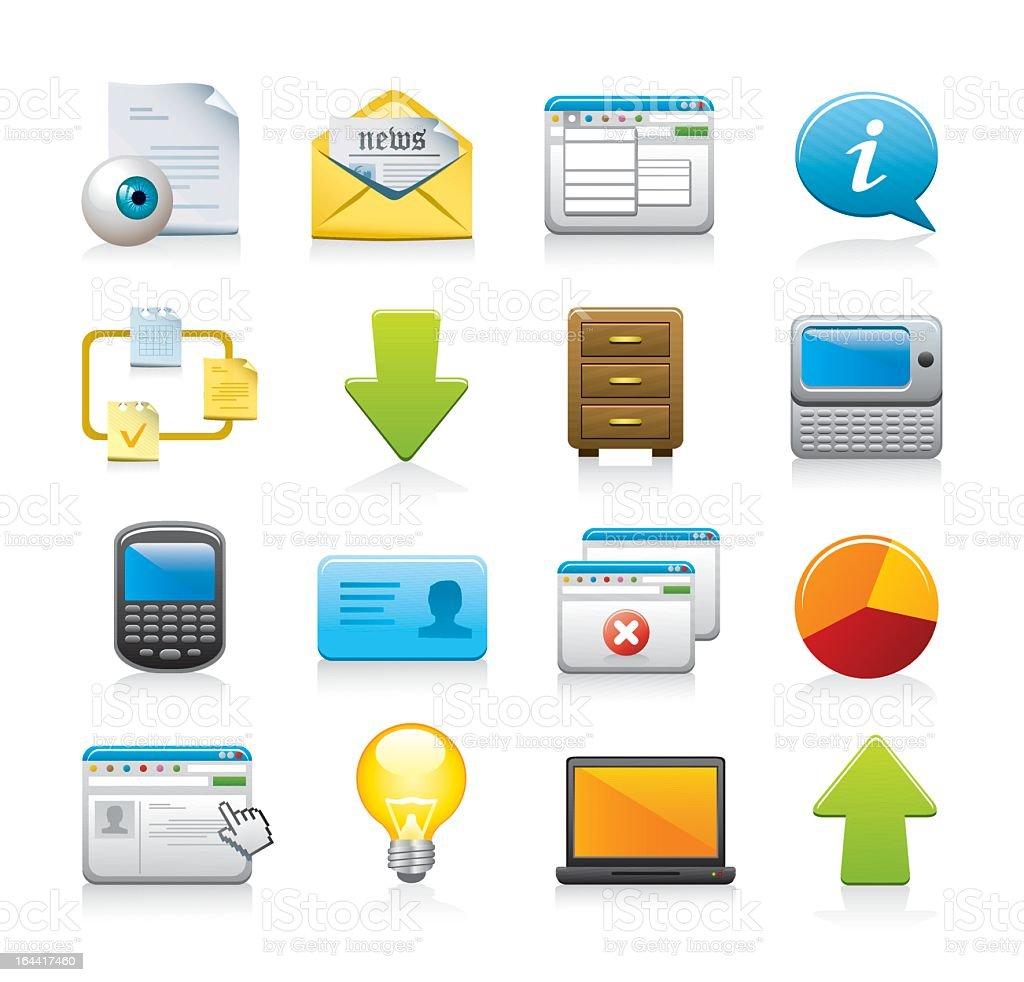 Set of digital web icons on white background vector art illustration