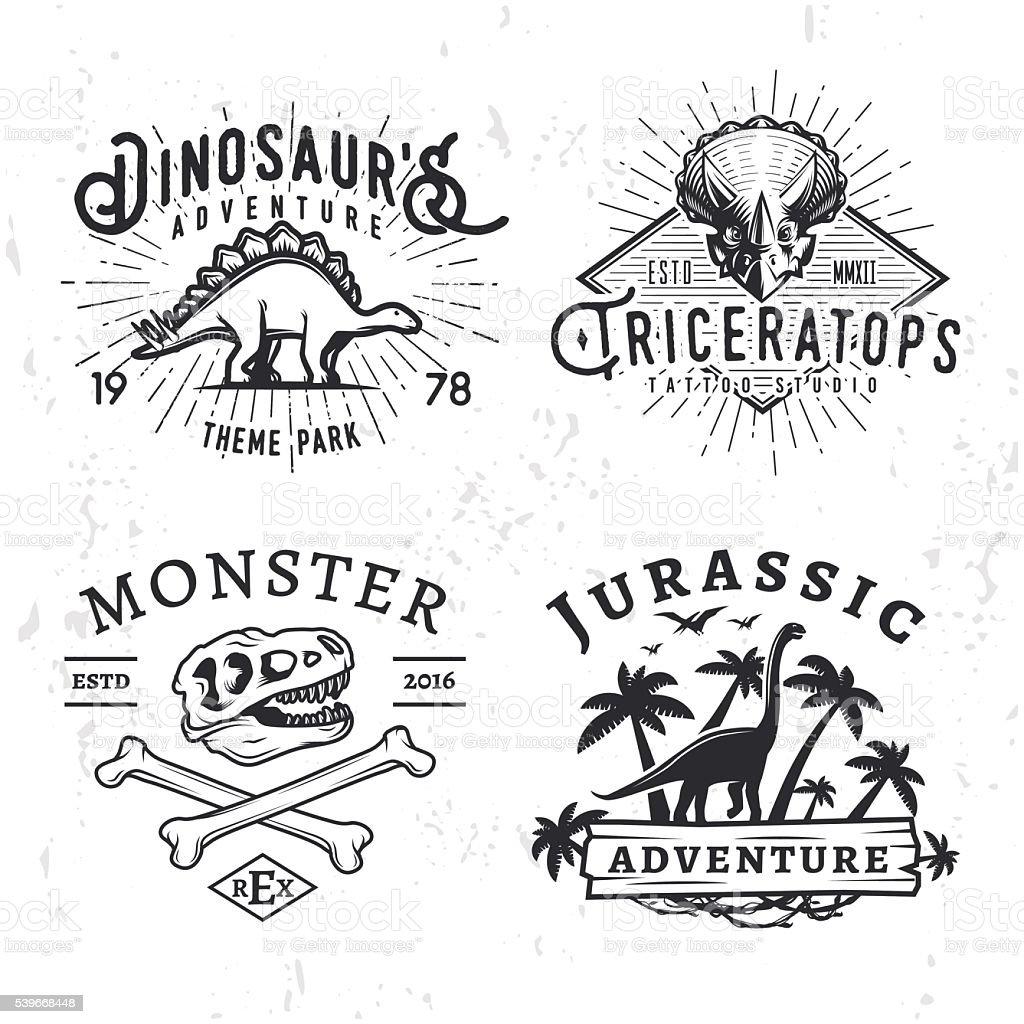 Set of Dino Badges. T-rex skull print illustration concept vector art illustration