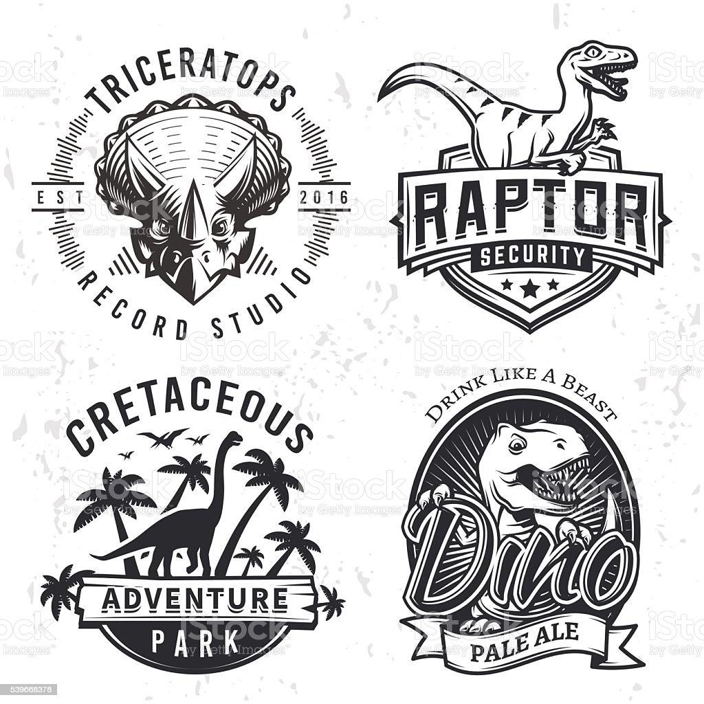 Set of Dino Labels. Raptor print illustration concept on grunge vector art illustration