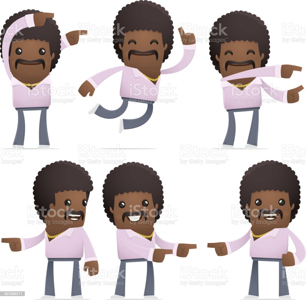 set of disco man character in different poses royalty-free stock vector art