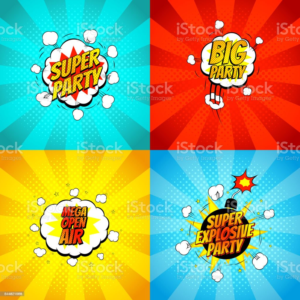 Set of disco party symbols in pop art style royalty-free stock vector art