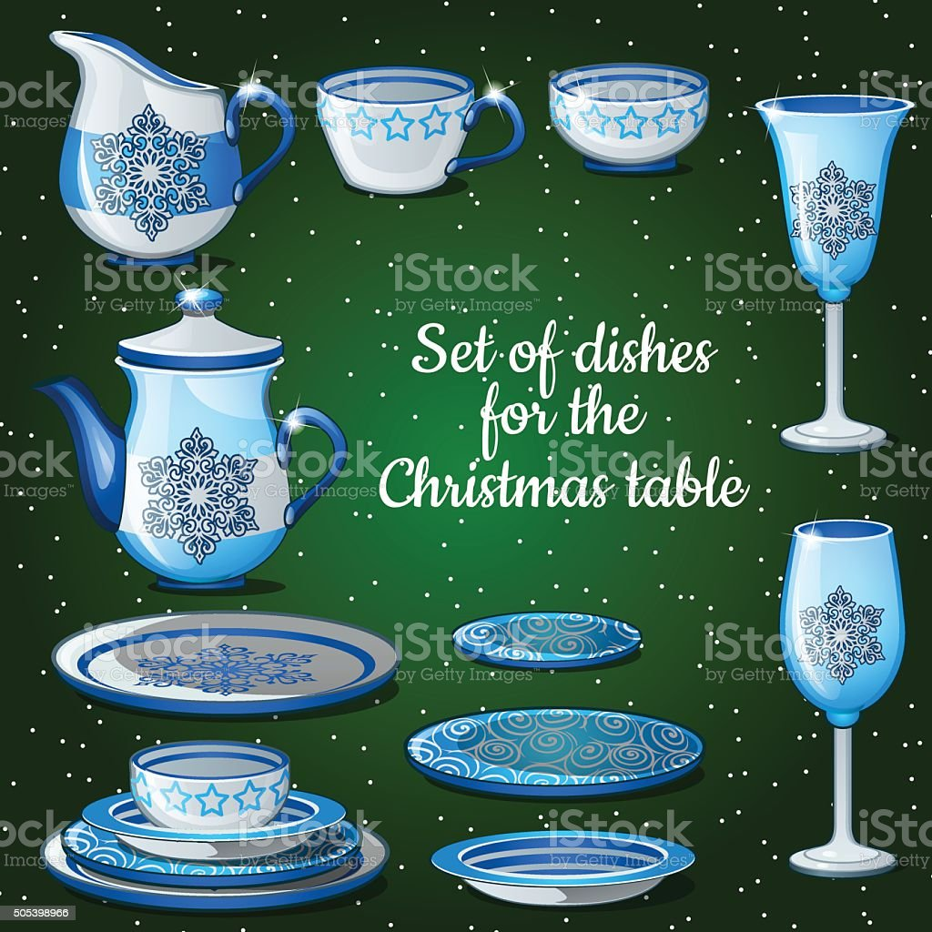 Set of dishes for lush festive table, 11 icons vector art illustration
