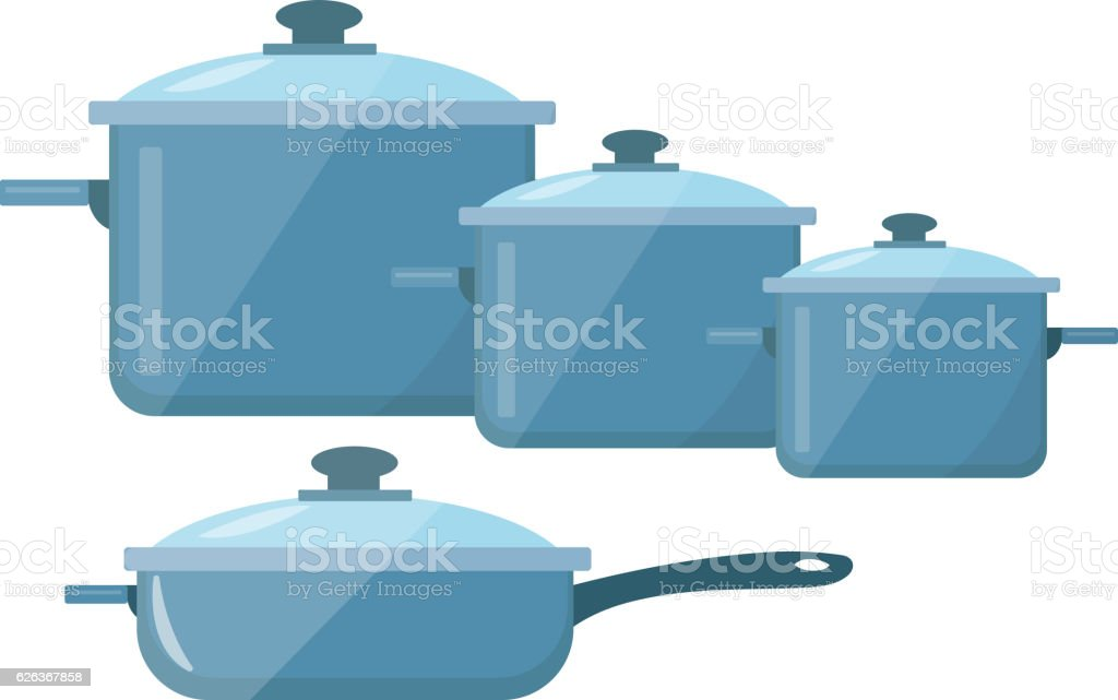 Set of dishes, pots and pans icon vector flat style vector art illustration