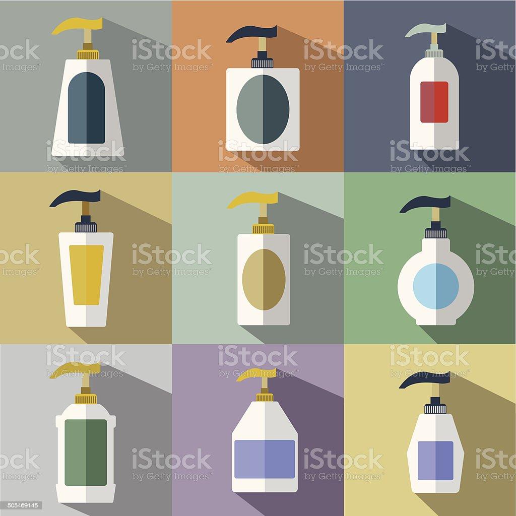 Set of Dispenser Pump Bottle Icon royalty-free stock vector art