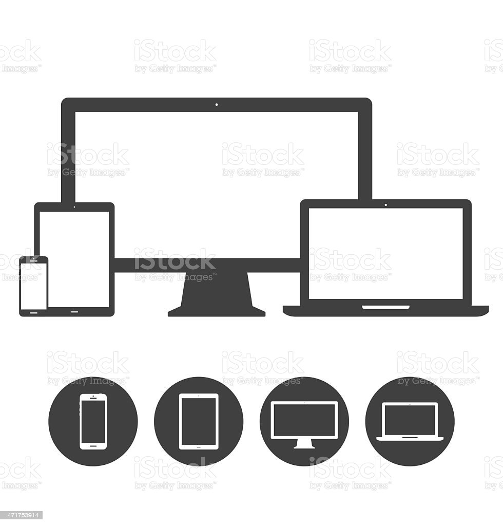 Set of display, laptop, tablet and mobile phones electronic device vector art illustration