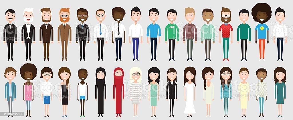 Set of diverse business people vector art illustration