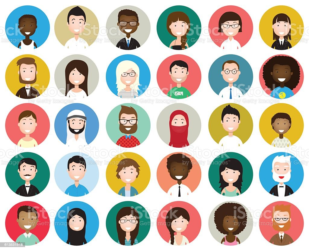 Set of diverse round avatars vector art illustration