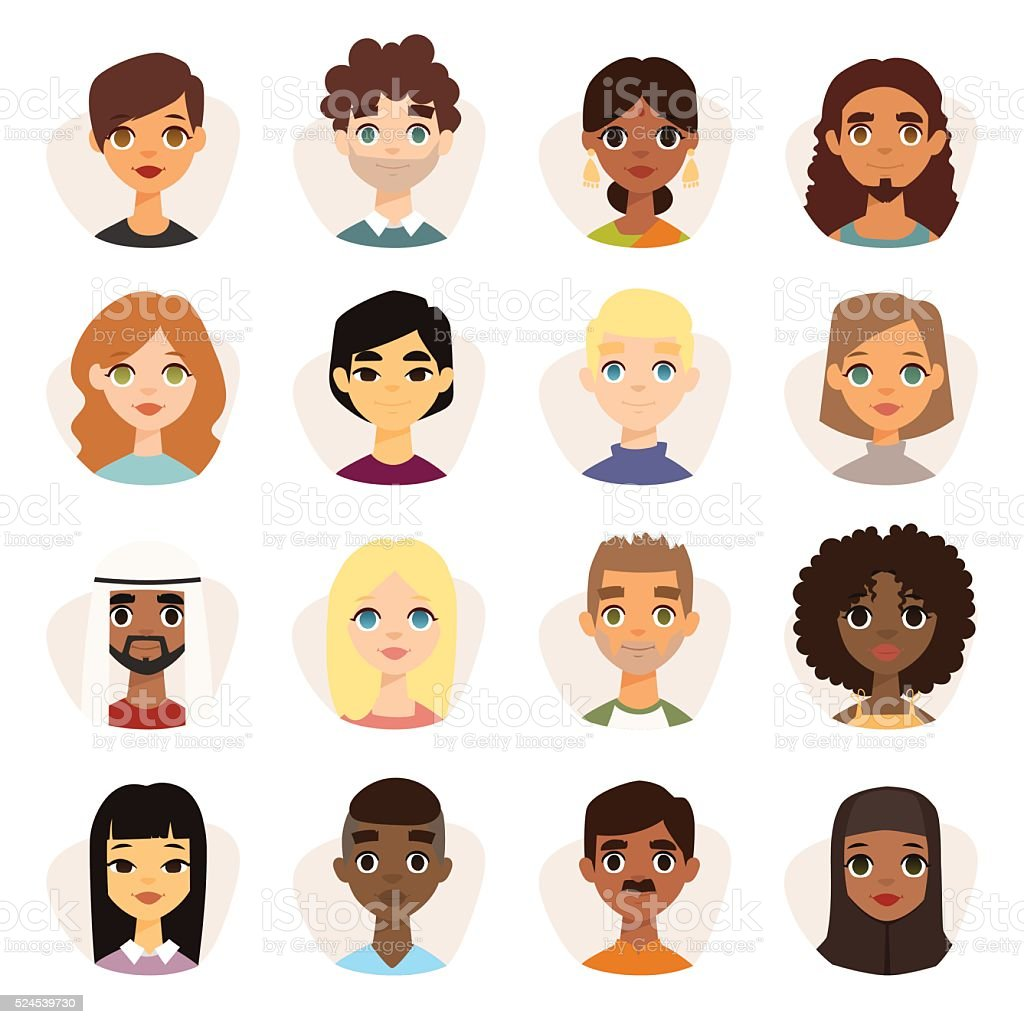 Set of diverse round avatars with facial features different nationalities vector art illustration