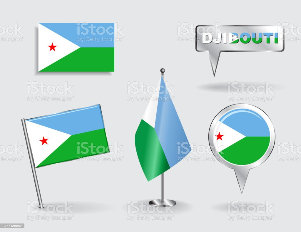 Set of Djibouti pin, icon and map pointer flags. Vector vector art illustration