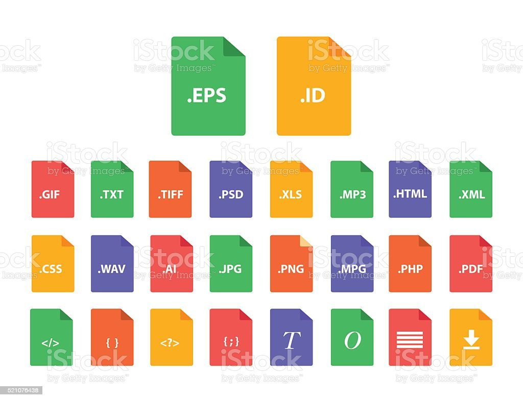 Set of Document File Formats in flat style vector art illustration