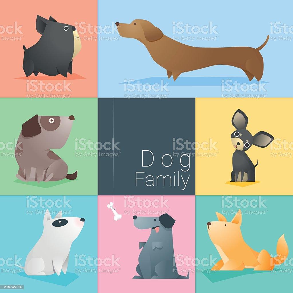 Set of dog family vector art illustration