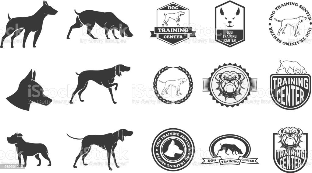 Set of dog icons, labels and design elements. vector art illustration