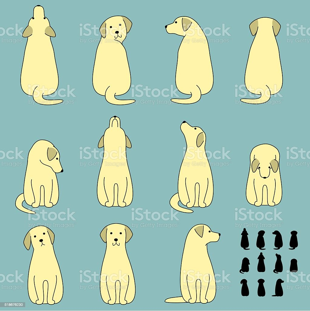 Set of dog sitting poses vector art illustration