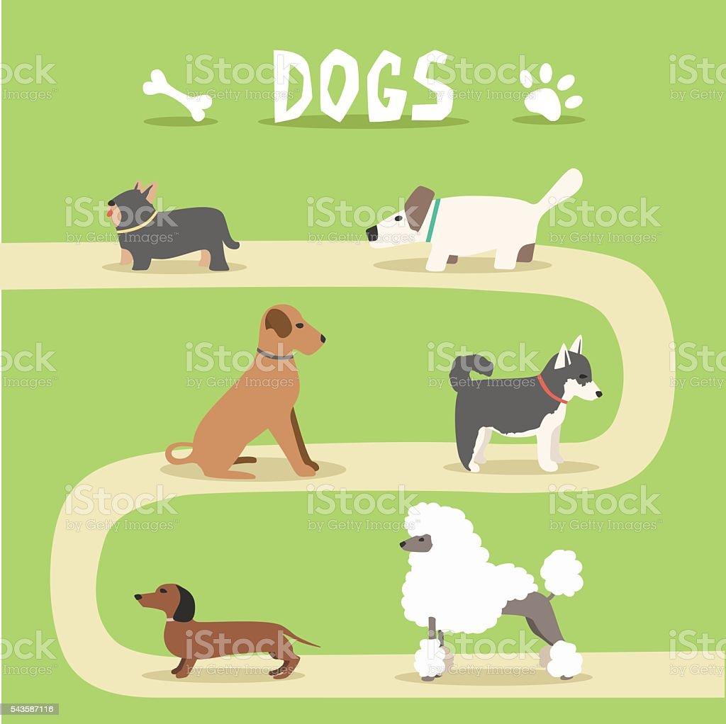 Set of dogs. Cartoon vector illustration. Park vector art illustration