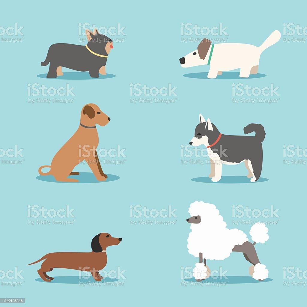 Set of dogs. Cartoon vector illustration. Vet clinic vector art illustration
