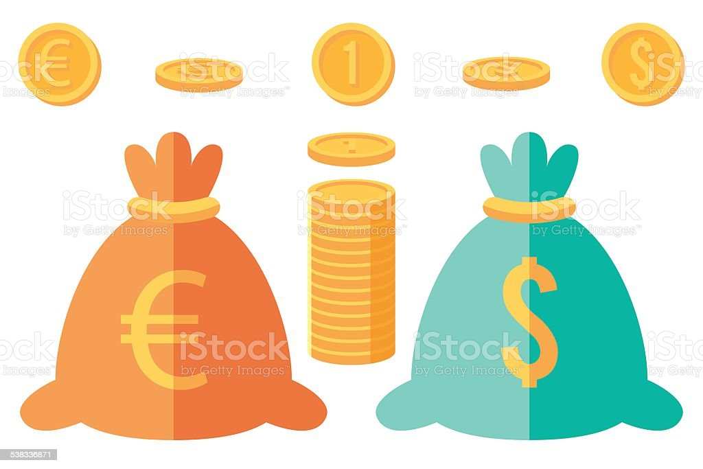Set of dollar and euro coins and two money sacks vector art illustration