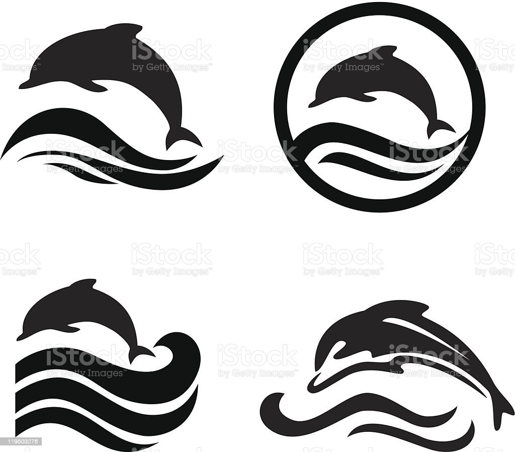 Set of dolphins. royalty-free stock vector art