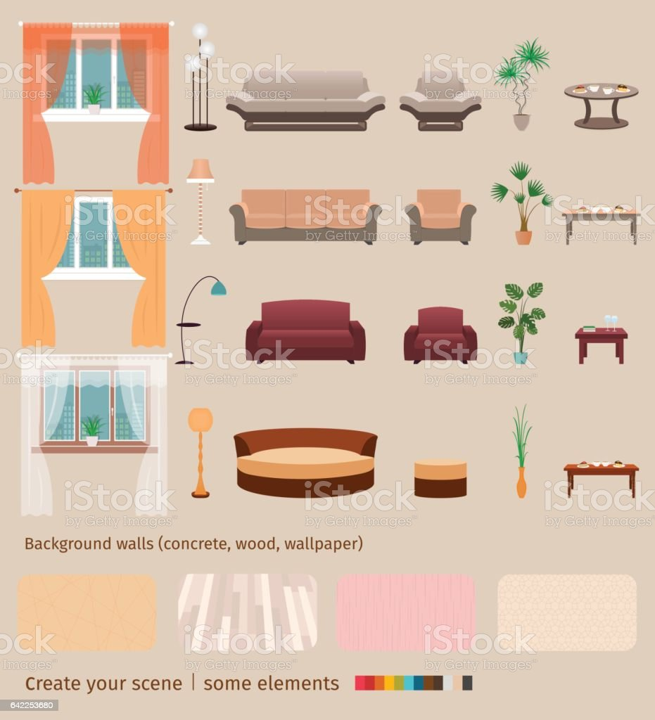 set of domestic living room elements and furniture to create your