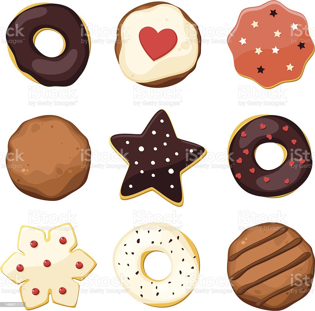A set of donuts in different shapes with sprinkles and icing royalty-free stock vector art