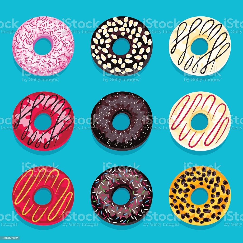 Set of donuts isolated on a blue background. vector art illustration