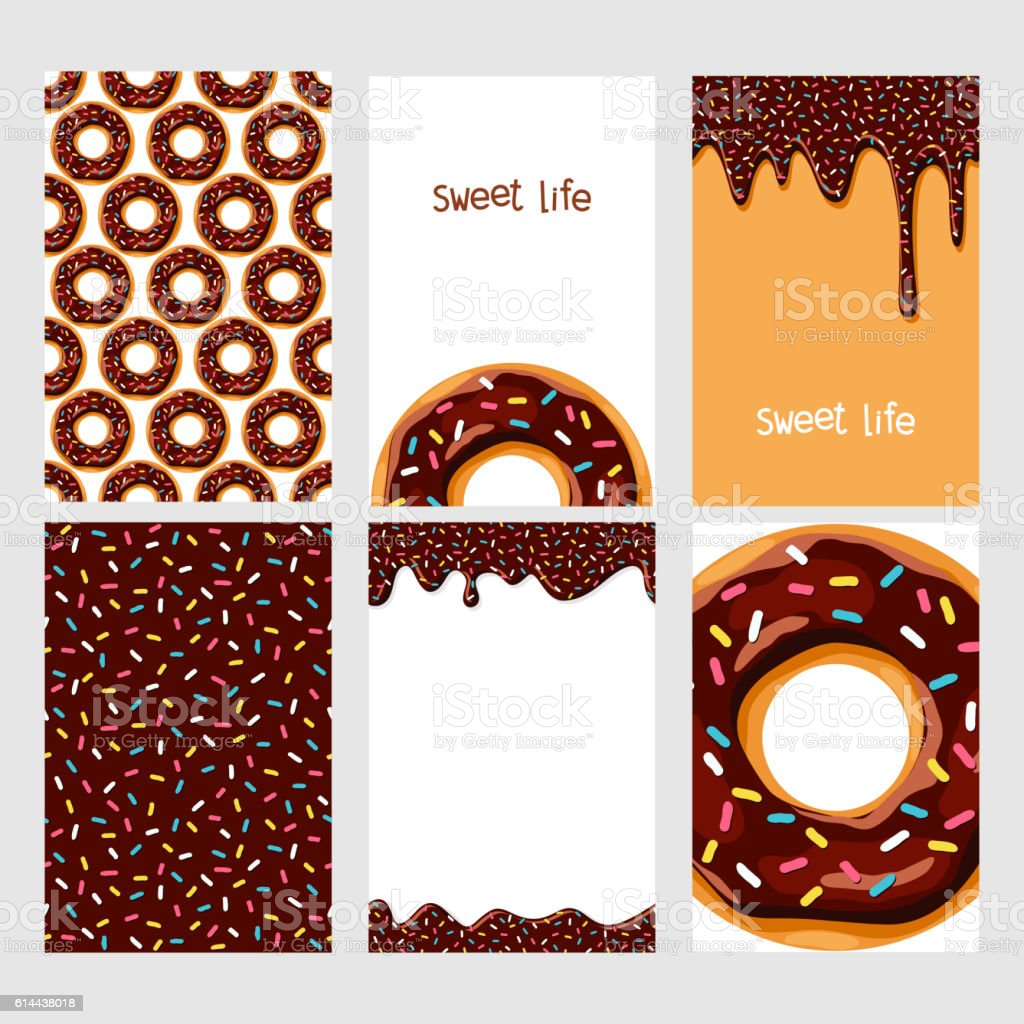 Set of donuts with chocolate glaze vector art illustration