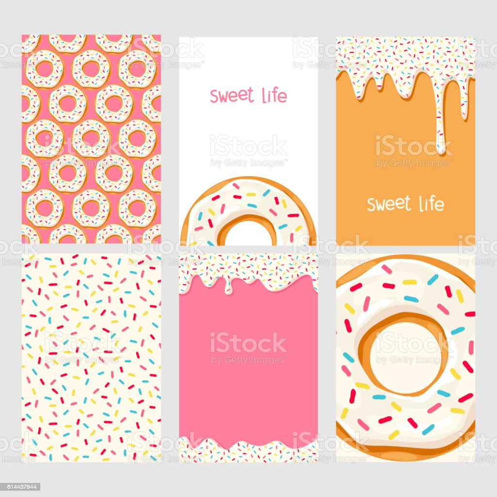 Set of donuts with pink glaze vector art illustration