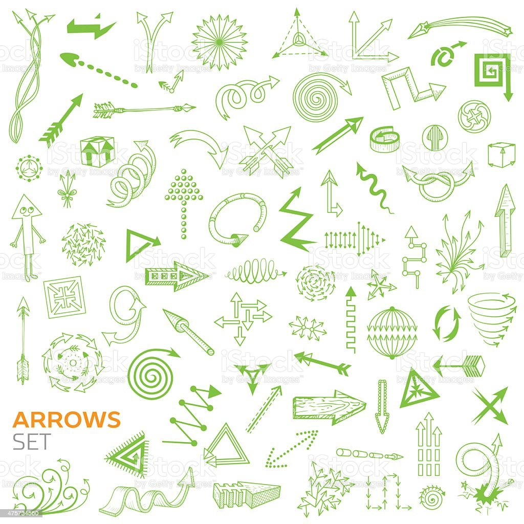 Set of doodle arrows vector art illustration