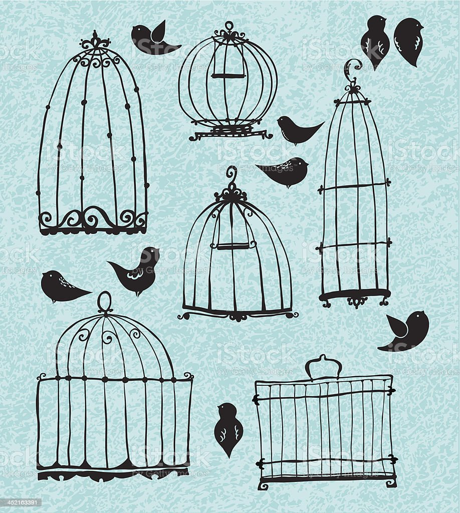Set of doodle cages and little birds royalty-free stock vector art