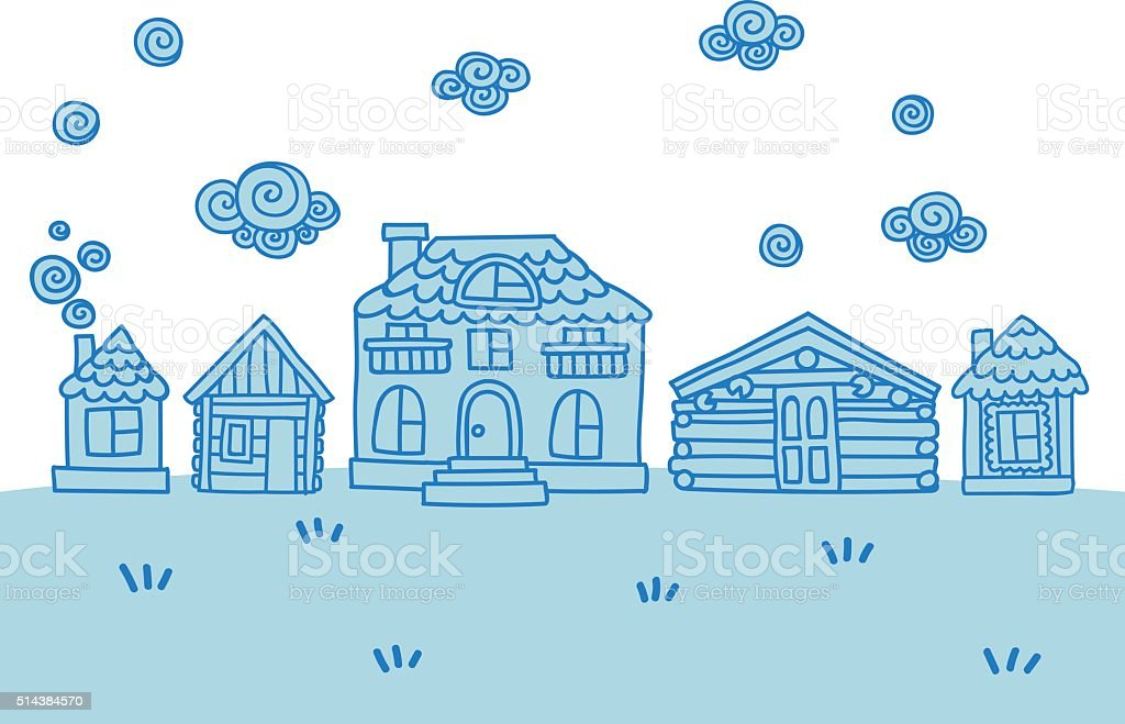 Set of doodle hand drawn cute easy-editable vector houses. vector art illustration