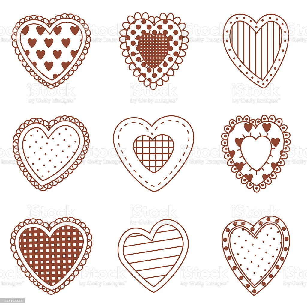 Set of doodle hearts royalty-free stock vector art