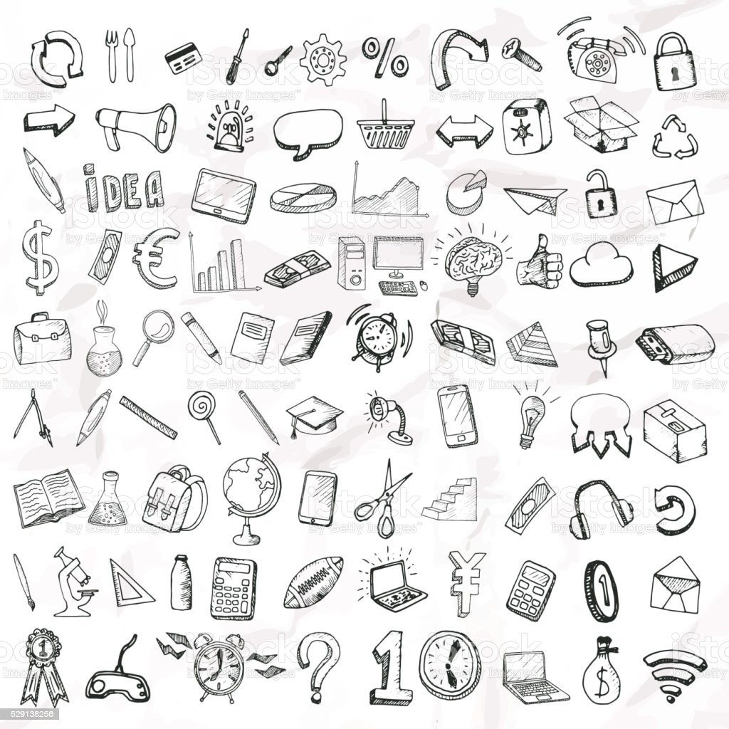 Set of doodle icons. vector art illustration