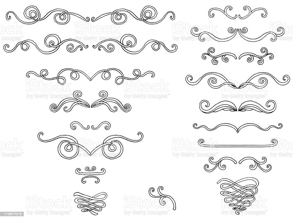 Set of doodle scrolls royalty-free stock vector art
