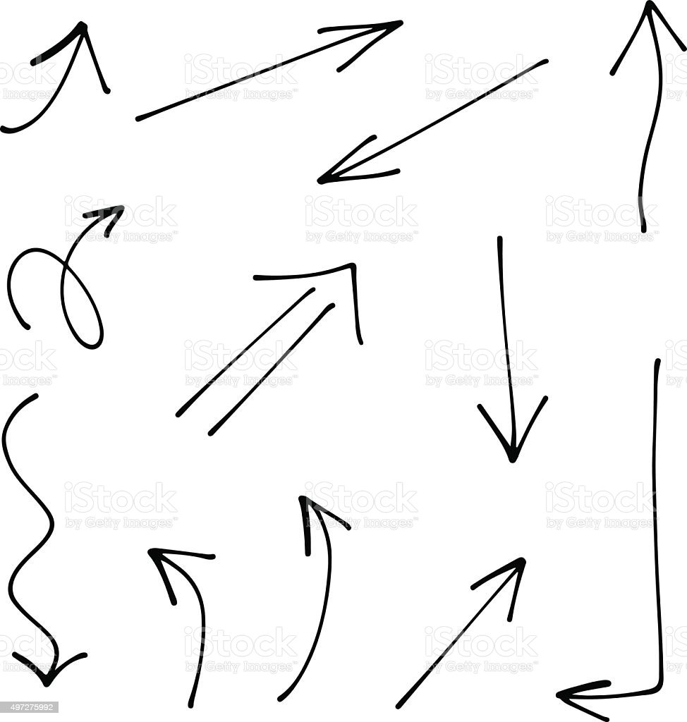 Set of Doodle Sketch arrows, pointers. vector art illustration