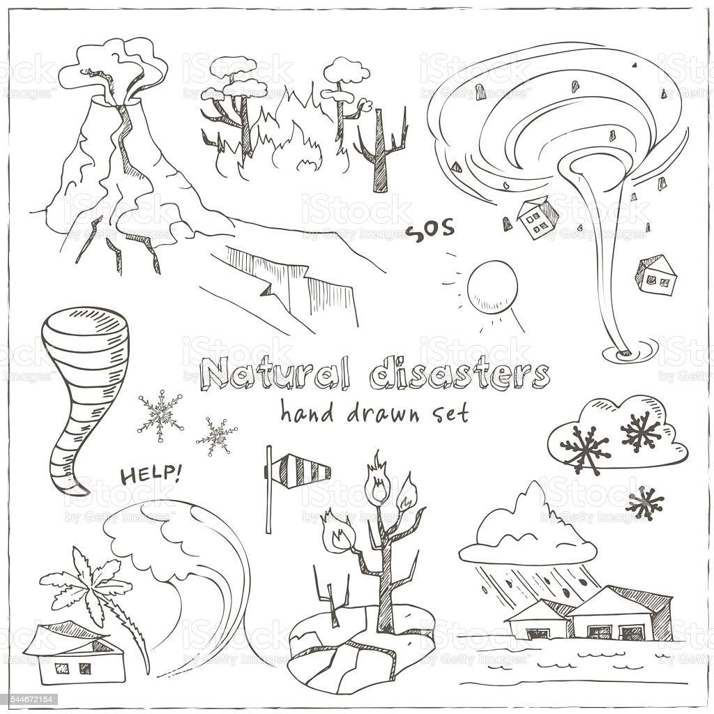 Set of doodle sketch Natural disasters vector art illustration