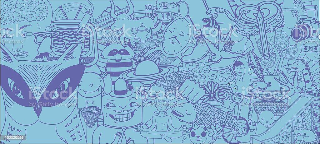 Set of Doodles Background vector art illustration