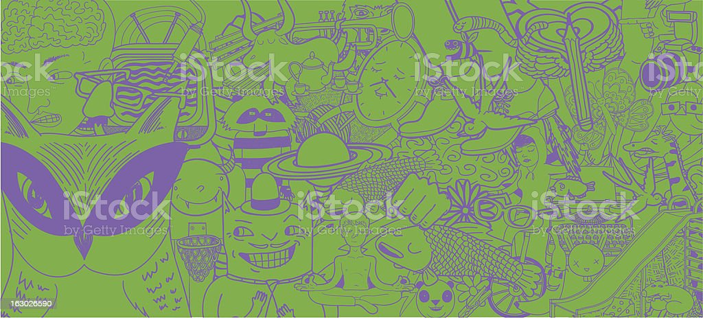 Set of Doodles Background royalty-free stock vector art