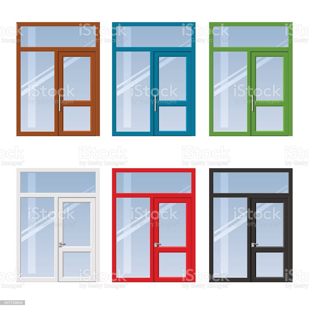 Set of doors and windows vector art illustration