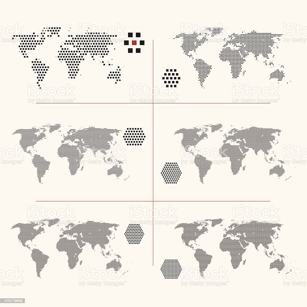 Set of dotted world maps in different resolution vector art illustration