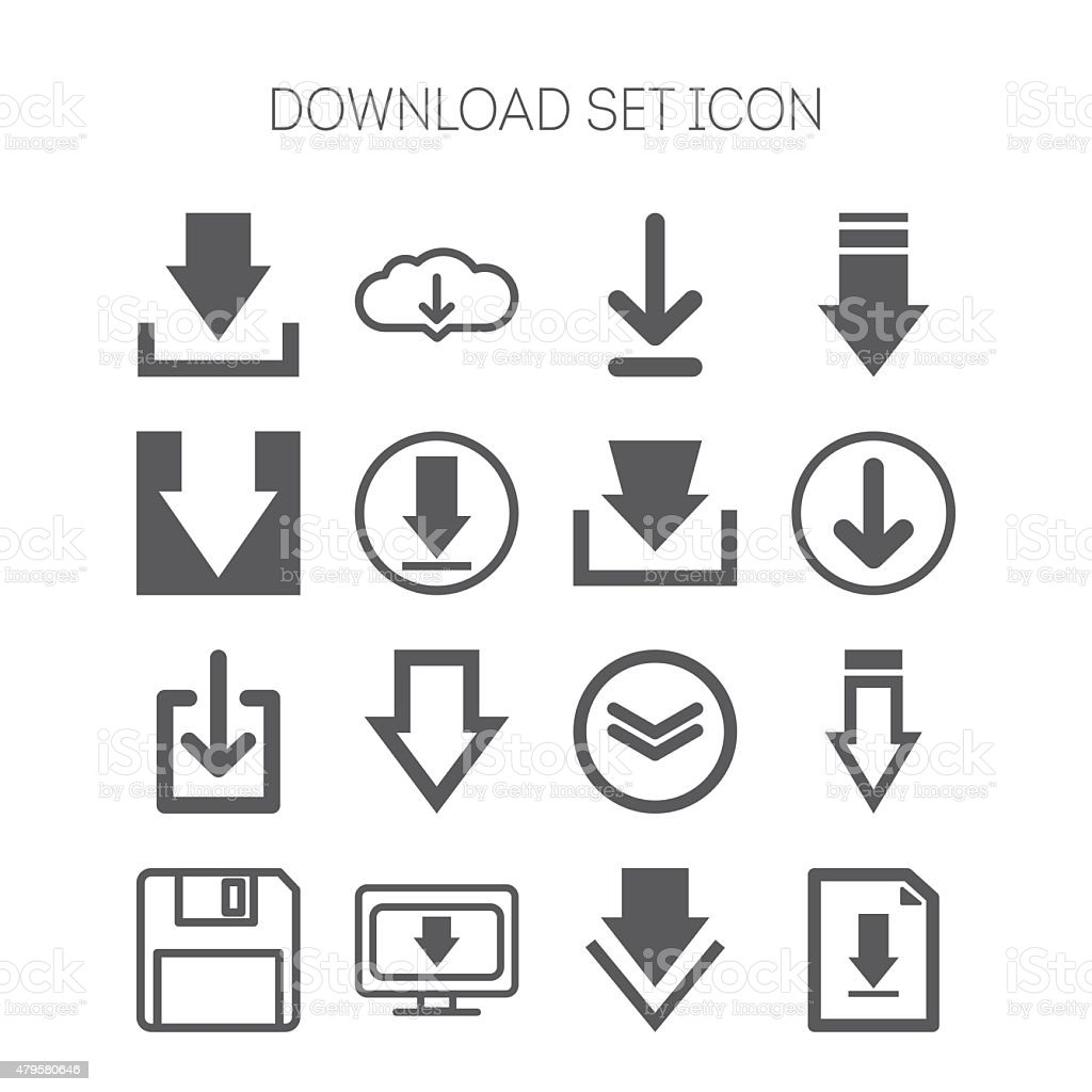 Set of download icons for web site, applications, games and vector art illustration