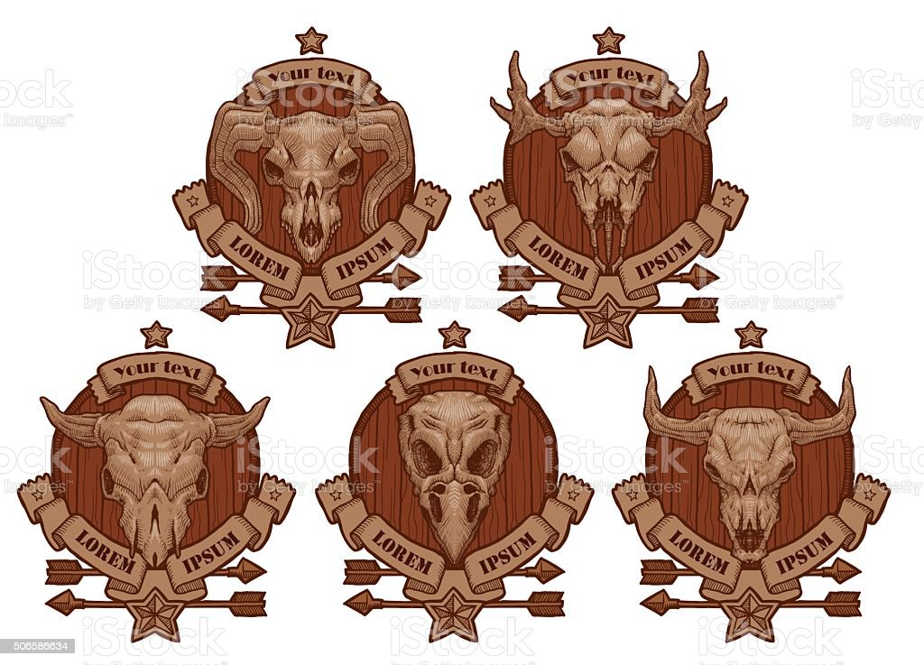 Set of drawing emblems with animal's skulls. vector art illustration