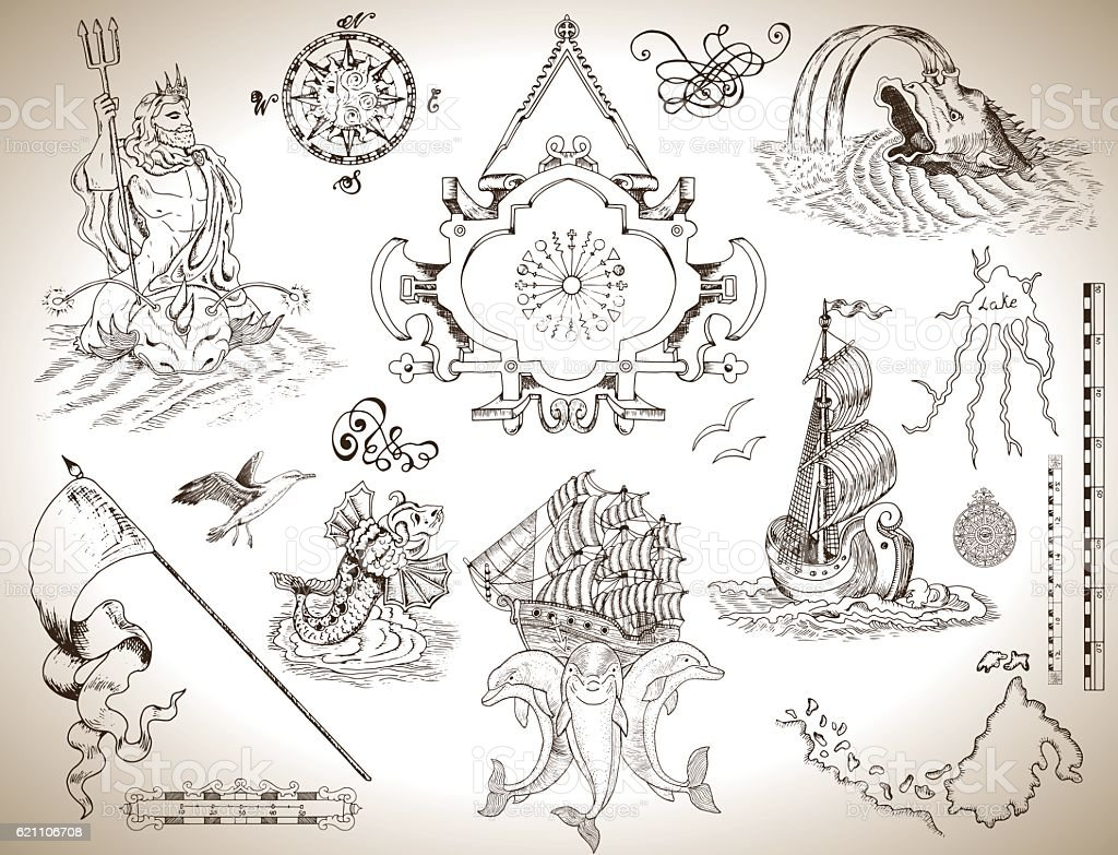 Set of drawings with banner, old ship and sea symbols vector art illustration