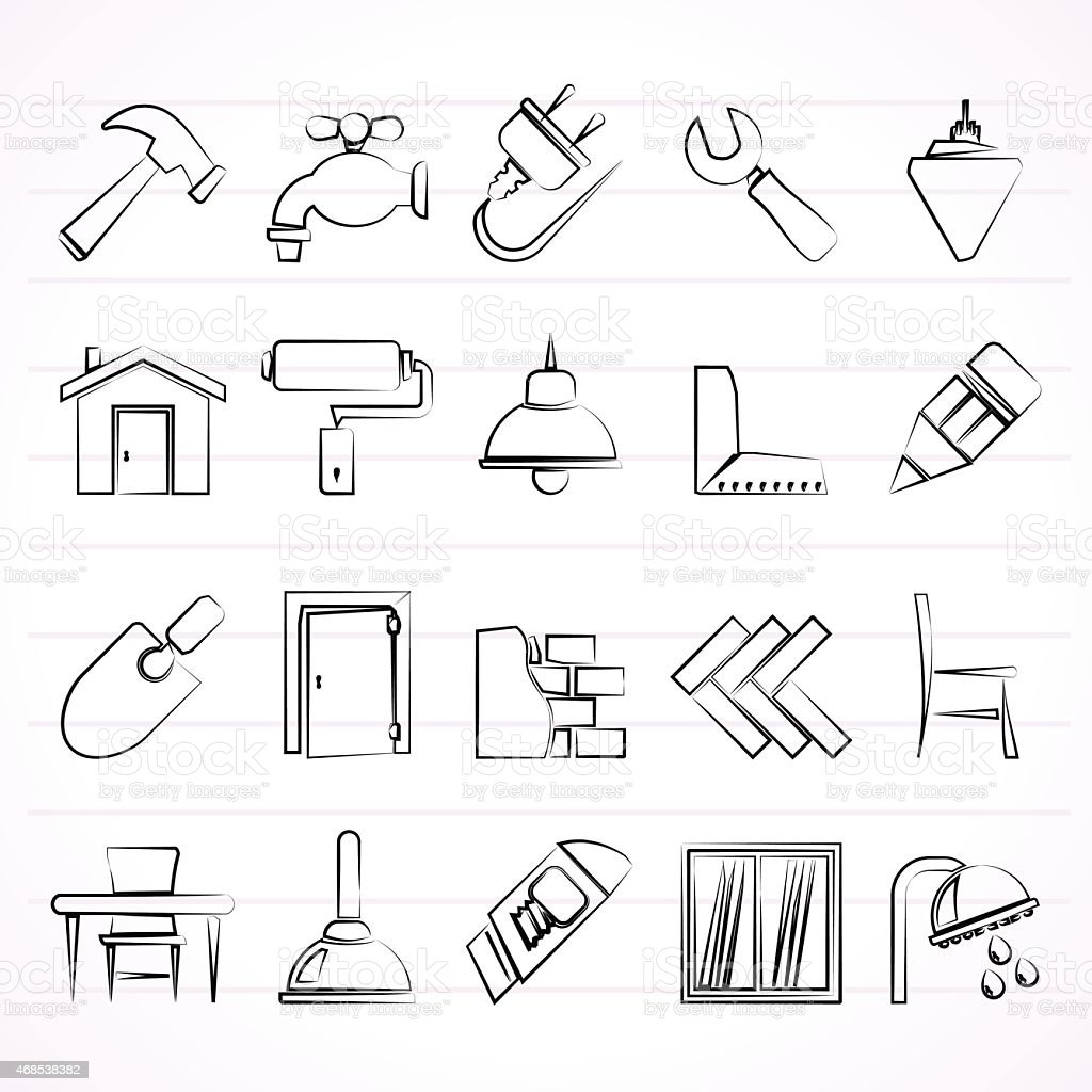 Set of drawn building and home renovation icons vector art illustration