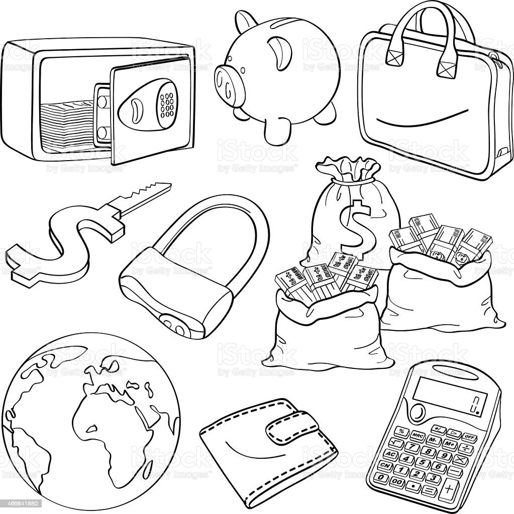 Set of drawn financial and business-themed icons vector art illustration