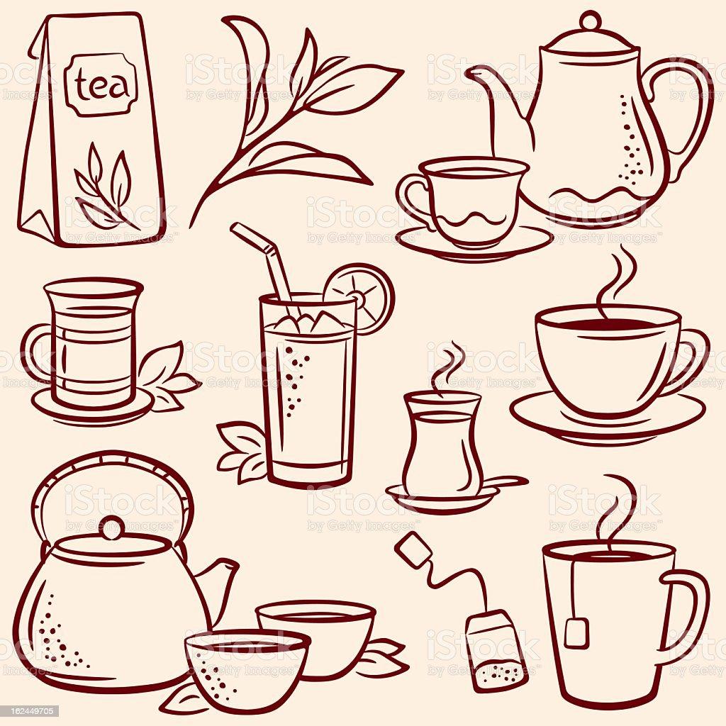 Set of drawn tea-related illustrations over beige background vector art illustration
