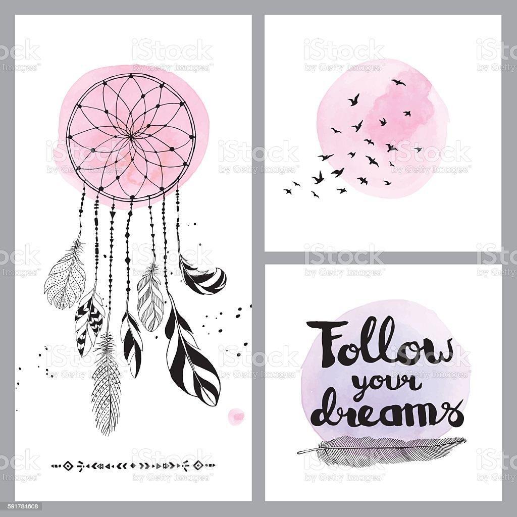 Set of dream cards vector art illustration