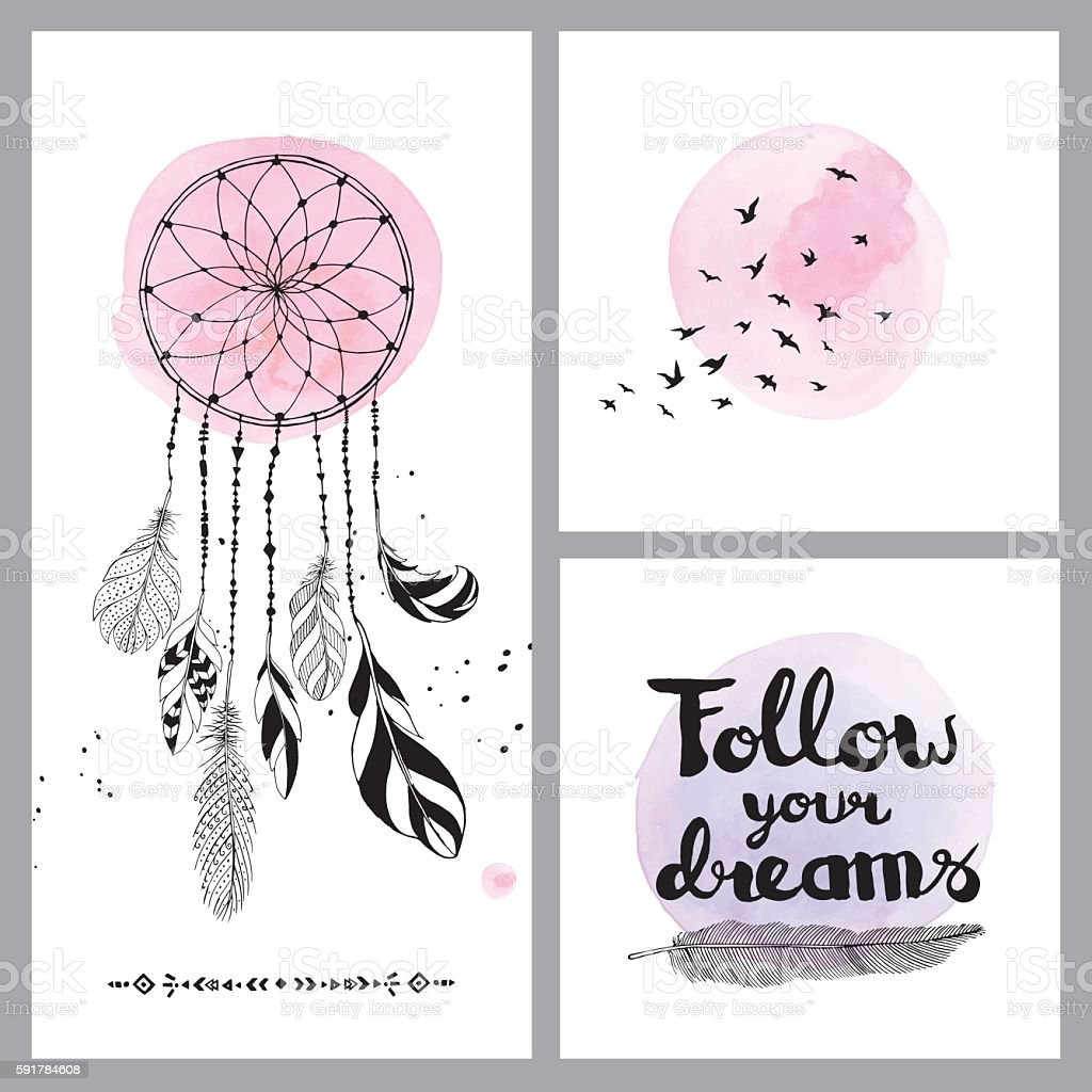 Set of dream cards vector art illustration