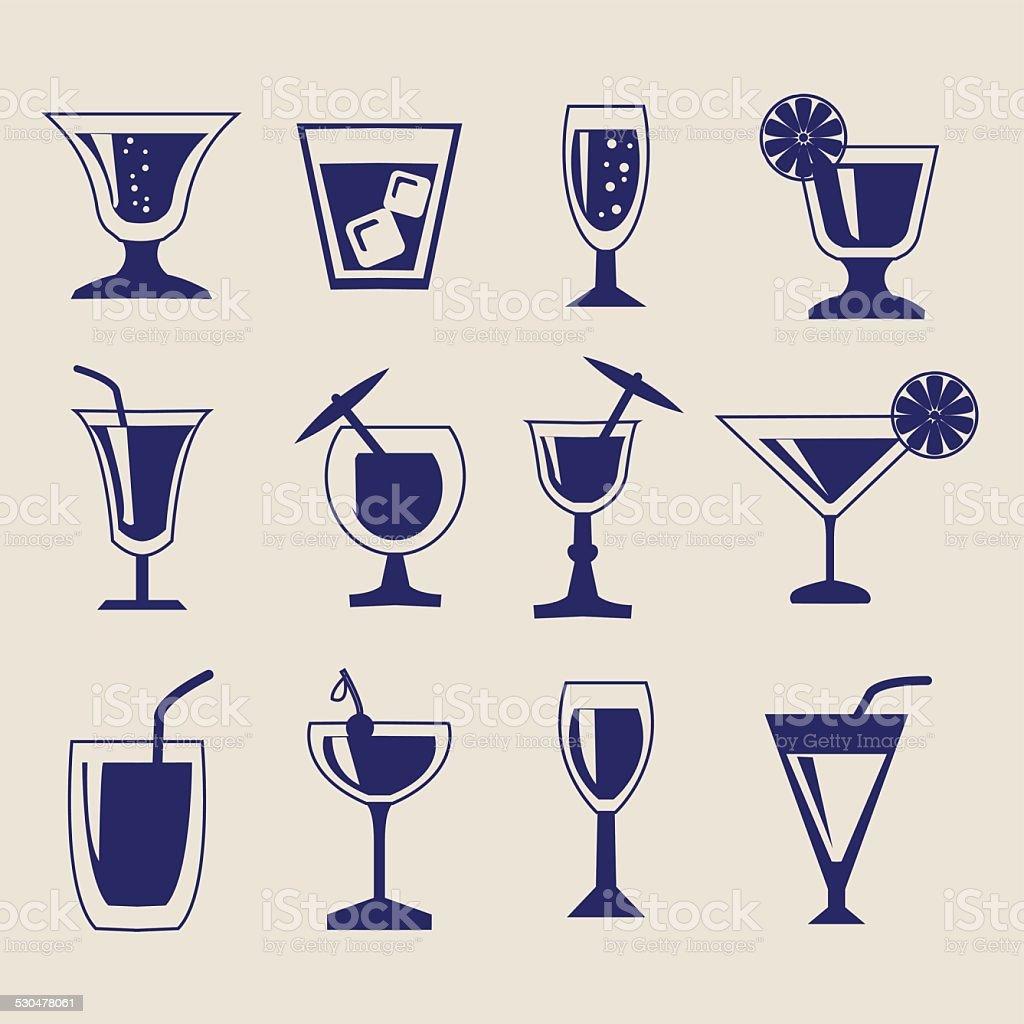 set of Drinks icon set vector art illustration