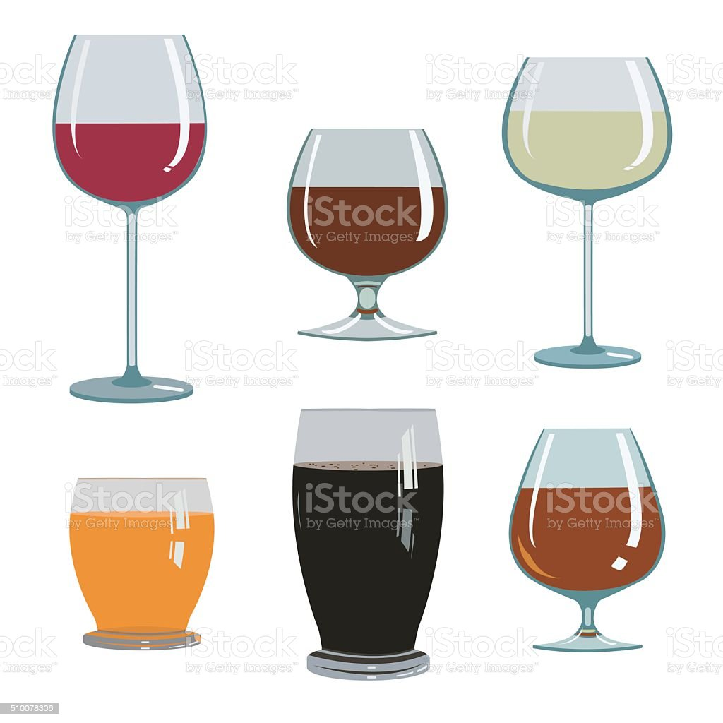 set of drinks in glasses royalty-free stock vector art