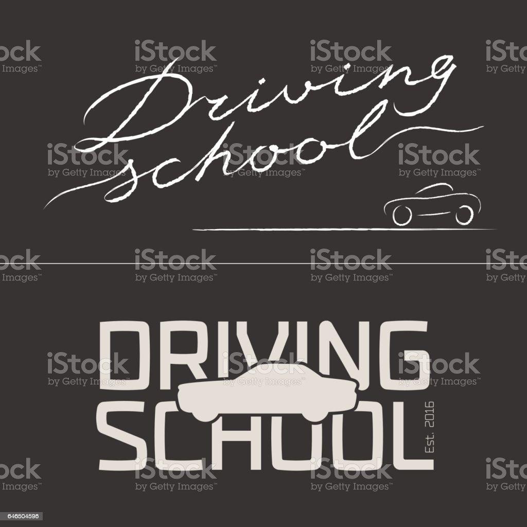 Set of driving school vector emblems vector art illustration