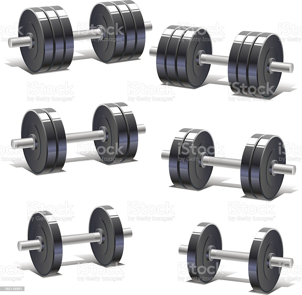 set of dumbbells royalty-free stock vector art